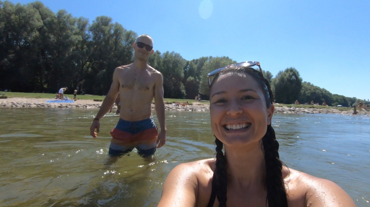 Whitney & Shane in the Isar River.