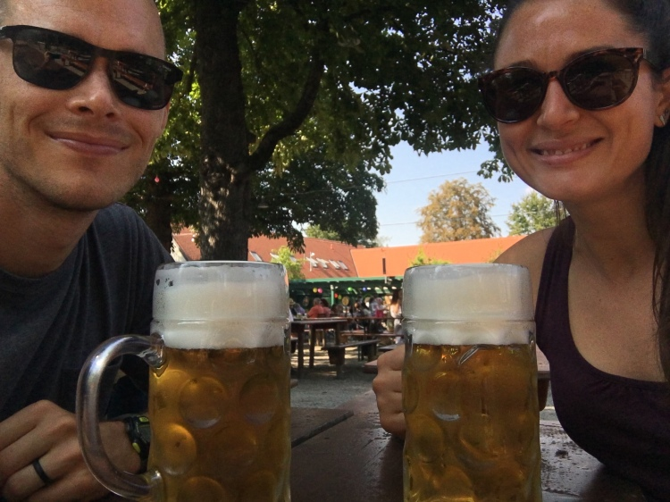 Shane & Whitney with large beers to celebrate residency.