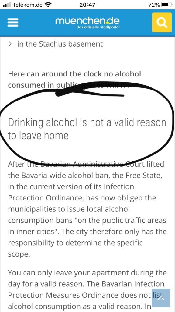 Munich lockdown alcohol restriction.